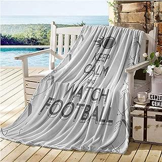 Jecycleus Football, Warm Microfiber All Season Blanket, American Sport Play Keep Calm Quote Monochrome Rocket Ball Vintage Label, Velvet Plush Throw Blanket 60x50 Inch Black White Grey