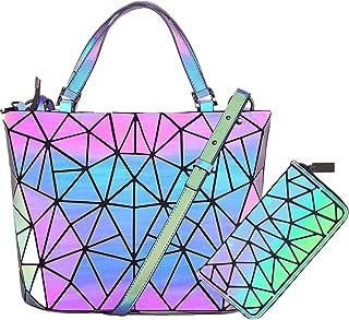 Hot One Color Changes Geometric Luminous Purses and Handbags Holographic Purse Reflective Purse Cross Bag (5# Luminous Medium+Zip Wallet Set)