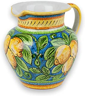 Umbria Hand Painted Ceramic Limone Pitcher from Italy