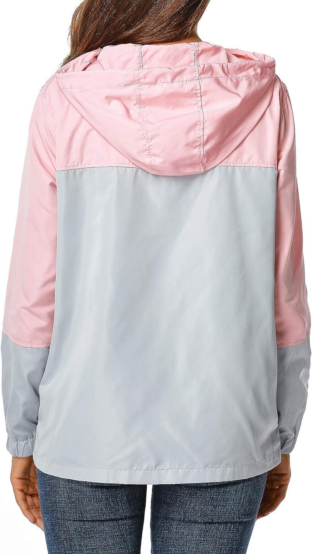 UUANG Womens Lightweight Packable Rain Jacket Hooded Waterproof Windbreaker