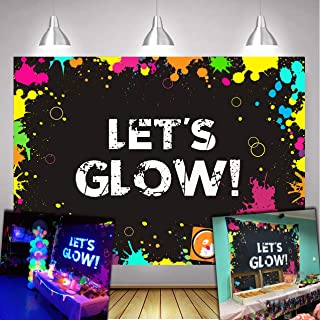 Daniu Glow Neon Party Backdrop Let's Glow Splatter Photography Background 7x5ft Vinyl Party Backdrops Banner Decoration Neon Party Supplies