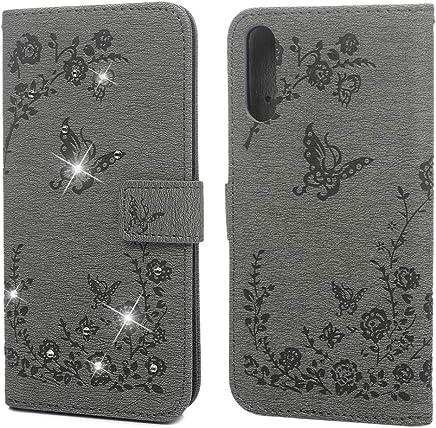 F�r Samsung Galaxy A50 H�lle Brieftasche Handyh�lle PU Leder Folie Tasche Schmetterling Pr�gemuster Kartenschlitz Magnetverschluss St�nder Kratzfest Sto�fest Sto�f�nger Schutz Handytasche Grau