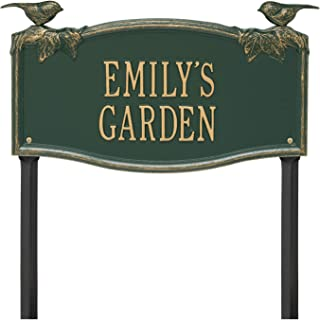 Whitehall 2 Line Personalized Chickadee and Vine Aluminum Lawn Garden Plaque 18.5
