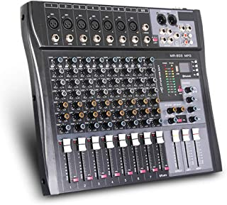 G-MARK MR80S Professional Audio mixer mixing Console 8 channels with MP3 Player +48V Phantom Power USB Bluetooth Reverb fo...