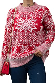 Byinns Women's Crewneck Sweater Ugly Christmas Casual Knit Oversized Pullover Sweater Fluff Top Jumpers