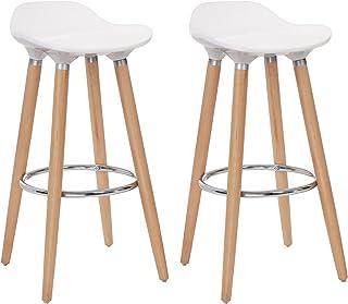 SONGMICS Set de 2 Taburetes de Bar con Patas de Madera de Haya Asiento de Plástico ABS Altura de 73 cm para Bar Cocina Comedor Bistro LJB20W