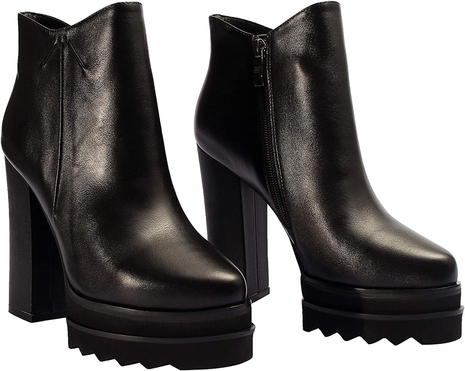 GiaoDeen Quantity limited Women's High Heel Platform Ankle Regular store Zip Leather Boots Side
