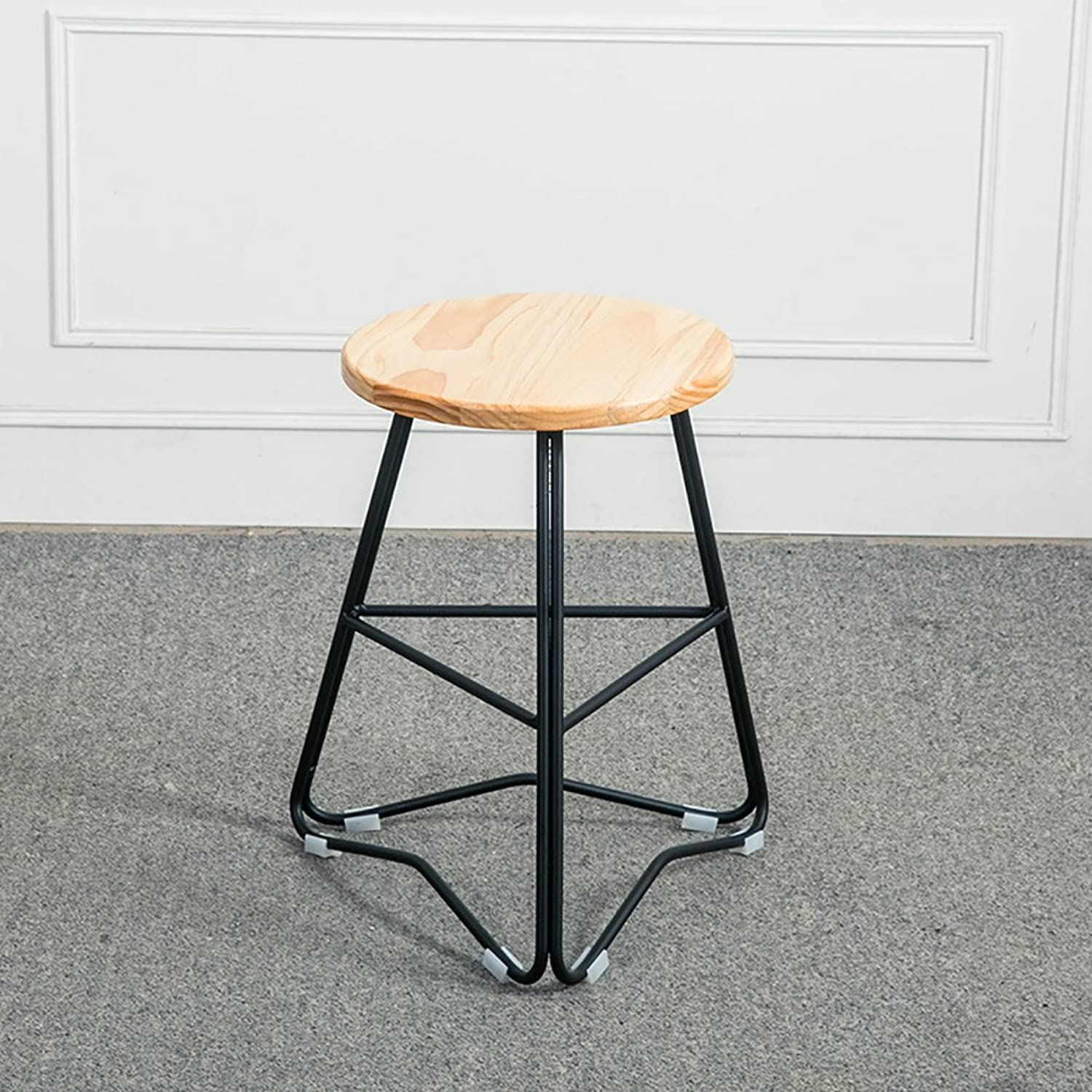 Nationwel@ Rustic Designer Kitchen Pub Metal Bar Stool Industrial Wooden Top-Solid Nordic Wood (color   2, Size   45CM)