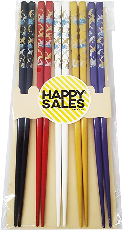 Happy Sales HSCH121 S Japanese Style Chopsticks Gift Set Crane Multicolor