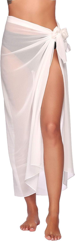 Ekouaer Sarong Swimsuit Coverup for Women Chiffon Long Beach Tie Wrap Skirt Sexy Bikini Sheer Scarf Bathing Suit Bottom