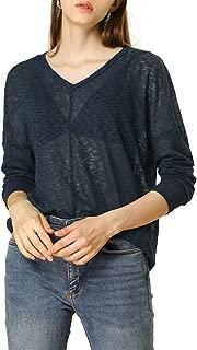 Allegra K Women Basic Causal V Neck Drop Shoulder Long Sleeve Loose Knit Blouse Top