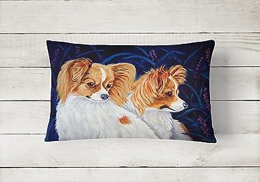 Caroline's Treasures 7241PW1216 Papillon Decorative Canvas Fabric Pillow, 12H x16W, Multicolor