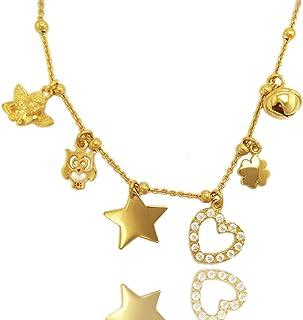 ViMon gioielli, COLLANA in ARGENTO 925 placcato ORO GIALLO,con ciondoli vari :angioletto,gufo,stella,cuore,quadrifoglio,ca...