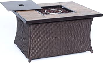 Cambridge WOVENFP1PC-TILE 40,000 BTU Woven Fire Pit Coffee Table with Porcelain Tile Top Outdoor Furniture, Tan