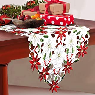 Artmag Christmas Embroidered Table Runners,Luxury Poinsettia Holly Leaf Table Linens for Christmas Decorations 15 x 69 Inch