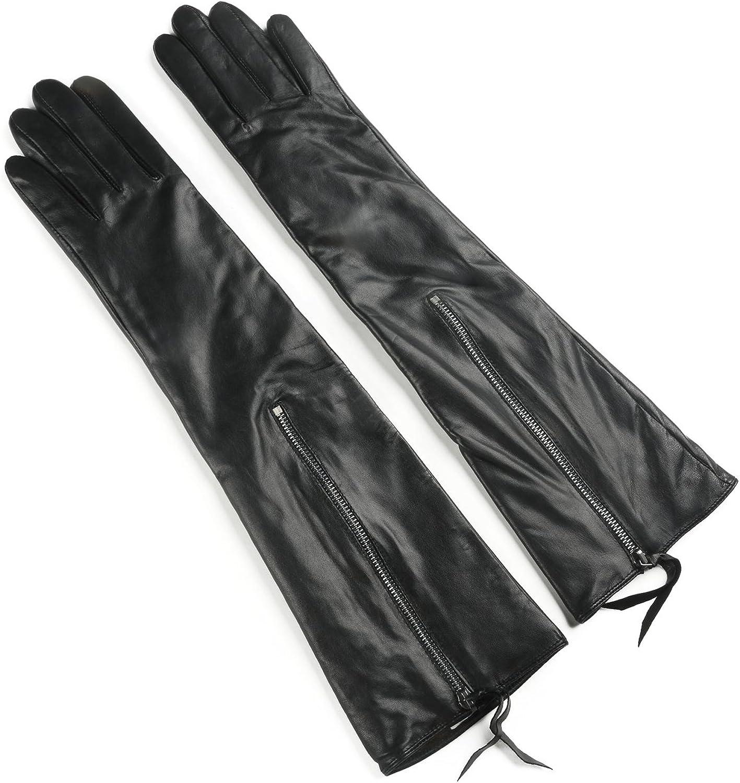 Ambesi Women's Fleece Lined Opera Long Lambskin Leather Winter Gloves