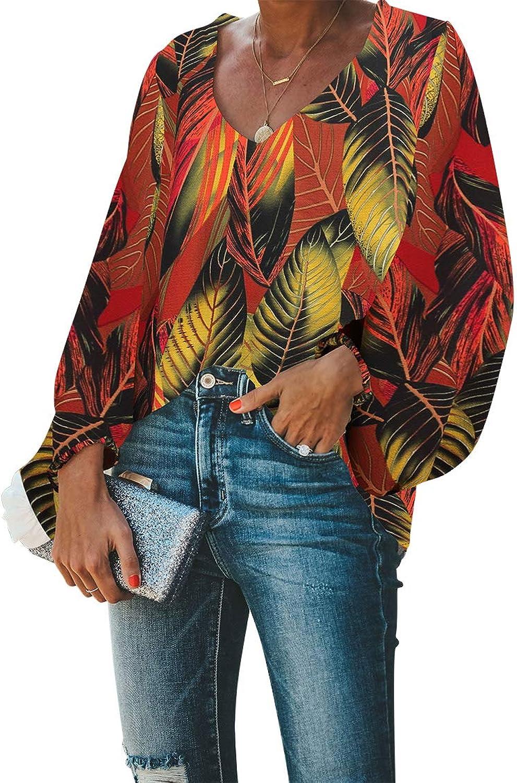 BELONGSCI Women's Casual Sweet & Cute Loose Shirt Balloon Sleeve VNeck Blouse Top