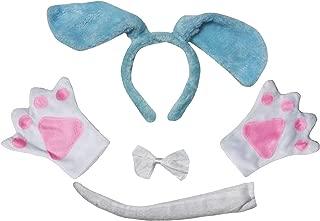 Long Ear Dog Headband Bowtie Tail Gloves 4pc Adult Costume