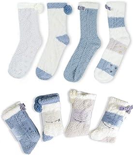 4 Pares Mullido Borroso Calcetines de Invierno Acogedor Calentar Pantuflas Super Suaves Cómodos Felpa Calcetines de Casa Antideslizante Mujer