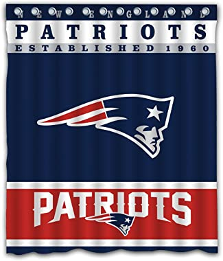 Sonaby Custom New England Patriots Waterproof Fabric Shower Curtain for Bathroom Decoration (60x72 Inches)