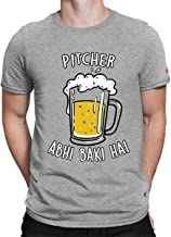 PrintOctopus Graphic Printed T-Shirt for Men & Women   Pitcher Abhi Baki Hai Tshirt   Beer Tshirt   Half Sleeve T-Shirt   Round Neck T Shirt   100% Cotton T-Shirt   Short Sleeve T Shirt