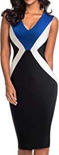 HOMEYEE Women's V-Neck Sleeveless Colorblock Pencil Form Fitting Dress B451