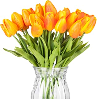 Meiliy 30pcs Orange Tulips Artificial Flowers Real-Touch Tulips for Home Decorations Room Centerpieces Arrangement Wedding Bouquets Corsages