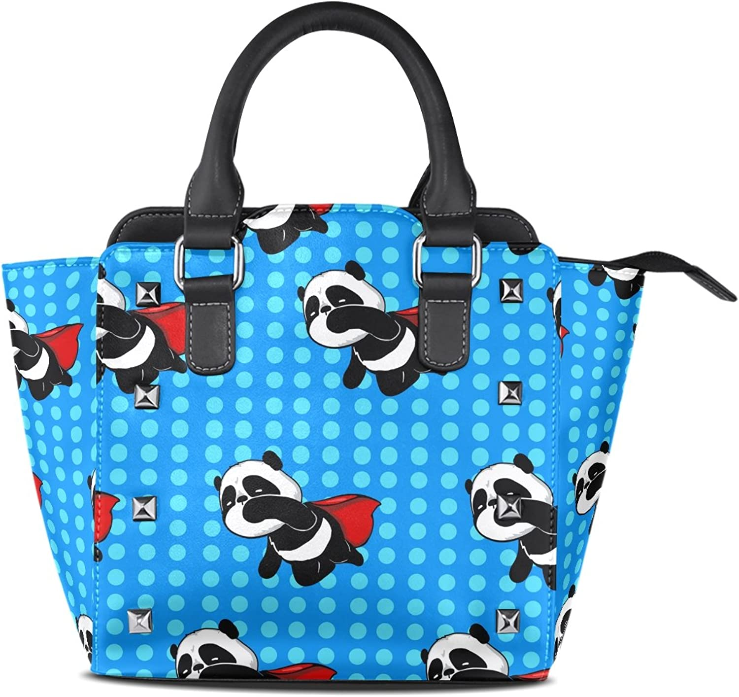 Sunlome Super Hero Panda bluee Print Handbags Women's PU Leather Top-Handle Shoulder Bags