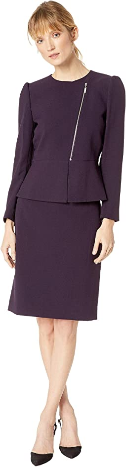 Asymmetrical Zip Front Peplum Skirt Suit