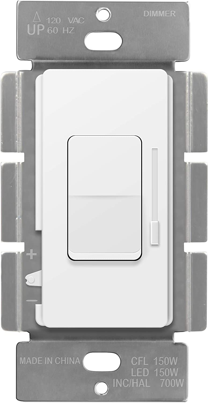 ENERLITES Decorator Slide Dimmer Switch High material Rocker Single-P On Popular standard Off