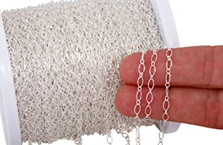 5 Feet Sterling Silver Long and Short Chain 5x2.5 mm for DIY Beading Arts and Crafts