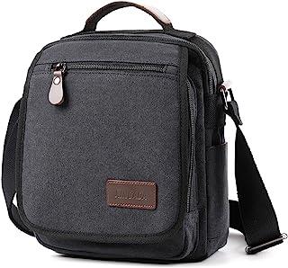 XINCADA Mens Bag Messenger Bag Canvas Shoulder Bags Travel Bag Man Purse Crossbody Bags for Work Business (Black)