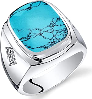 Mens Cushion Cut Simulated Turquoise Knight Ring Sterling Silver Sizes 8 to 13