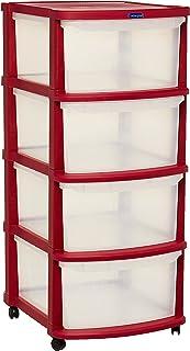خزانة تخزين متعددة الاغراض باربع طبقات مع عجلات من كوزموبلاست باللون الاحمر الداكن مع ادراج شفافة