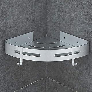 Hoomtaook Estanteria Ducha sin Taladros Accesorios Baño Sin Taladro Rinconera Autoadhesivo Aluminio Acabado Mate Estantes 1 Piezas Plata