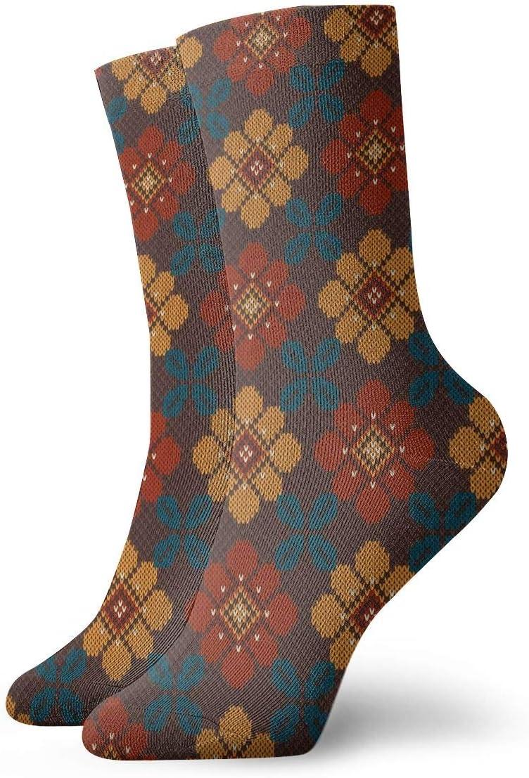 Unisex Casual Illustration of Folk Pattern Socks Moisture Wicking Athletic Crew Socks