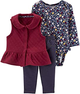 Carter's Baby Girls 3 Piece Quilted Little Vest Set (Flowers)