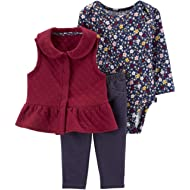 Baby Girls 3 Piece Quilted Little Vest Set (Flowers)