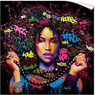FONWAPAI African American Girl Canvas Printing Wall Art Paintings,Black Art Modern Wall Decor,Wall Tapestry for Bedroom(24 X 24 inch,Unframed)