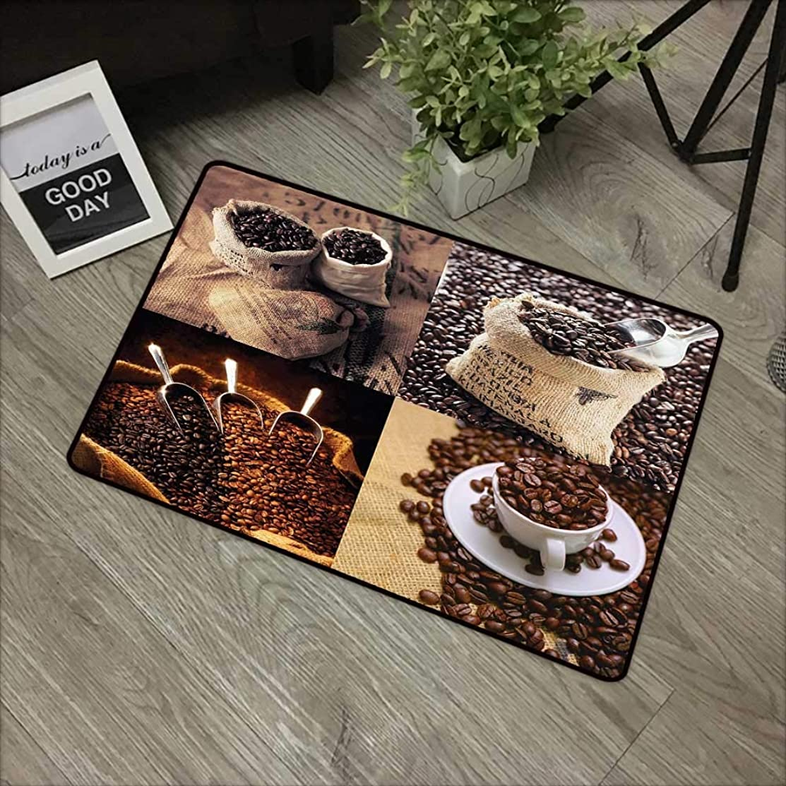 Bathroom Door mat W31 x L47 INCH Coffee,Rustic Collage of Images Showing Different Kinds of Roasted Grains,Brown Dark and Sand Brown Easy to Clean, no Deformation, no Fading Non-Slip Door Mat Carpet