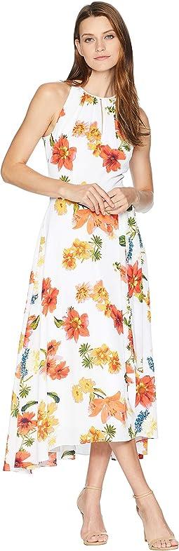 Sleeveless Printed Chiffon Halter Dress