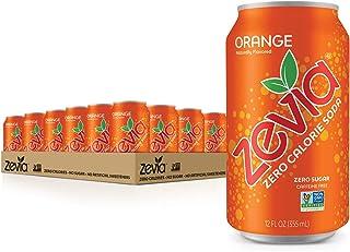 Zevia Zero Calorie Soda Cans, , Pack of 24 Orange 12 Fl Oz (Pack of 24) 288.0 Fl Oz