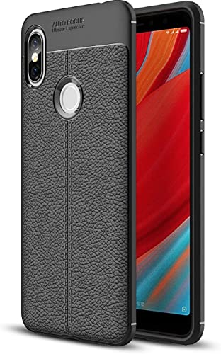 ERIT TPU Leather Pattern Auto Focus Back Case Cover for Xiaomi Redmi Y2 Black