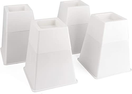 """Bed Risers, Set of 4 with Adjustable Height from 5"""" to 8"""", Matte White - Stylish, Modern Furniture Lifters with Non-S..."""