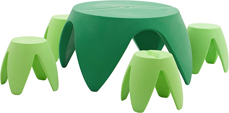 ECR4Kids Blossom Table And Stool Indoor Outdoor Furniture Set Green 5 Piece