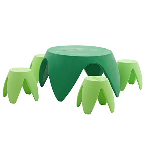 Tables & Chairs Dark Green ECR4Kids Indoor/Outdoor Furniture 18 Blossom Table