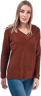 Brave Soul - Jersey con cuello en V para mujer, color marrón