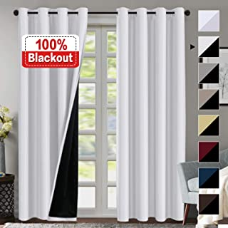 100% Blackout Curtains for Living Room Double Layer Faux Silk Curtains Room Darkening Thermal Insulated Energy Saving Grommet Window Treatment Panels (White, 52 by 108-inch)