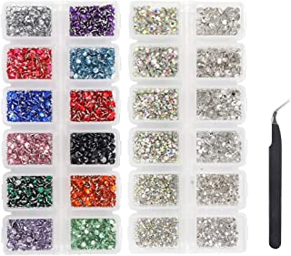 LIMGLIM Jewel Pickup Tool Kit 5136pcs Flatback Nail Art Rhinestones with Tweezers for Crafts Nail Gems for Nail Art Supplies