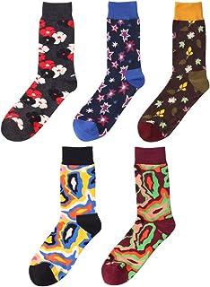 5 Pares Calcetines Colores Estampados para Hombre Mujer Algodón Peinado Cómodo & Transpirable, EU 40-45 Gracioso Casual